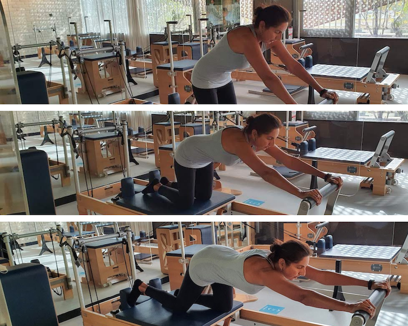 Picture of Monica on a Reformer in a Pilates Class